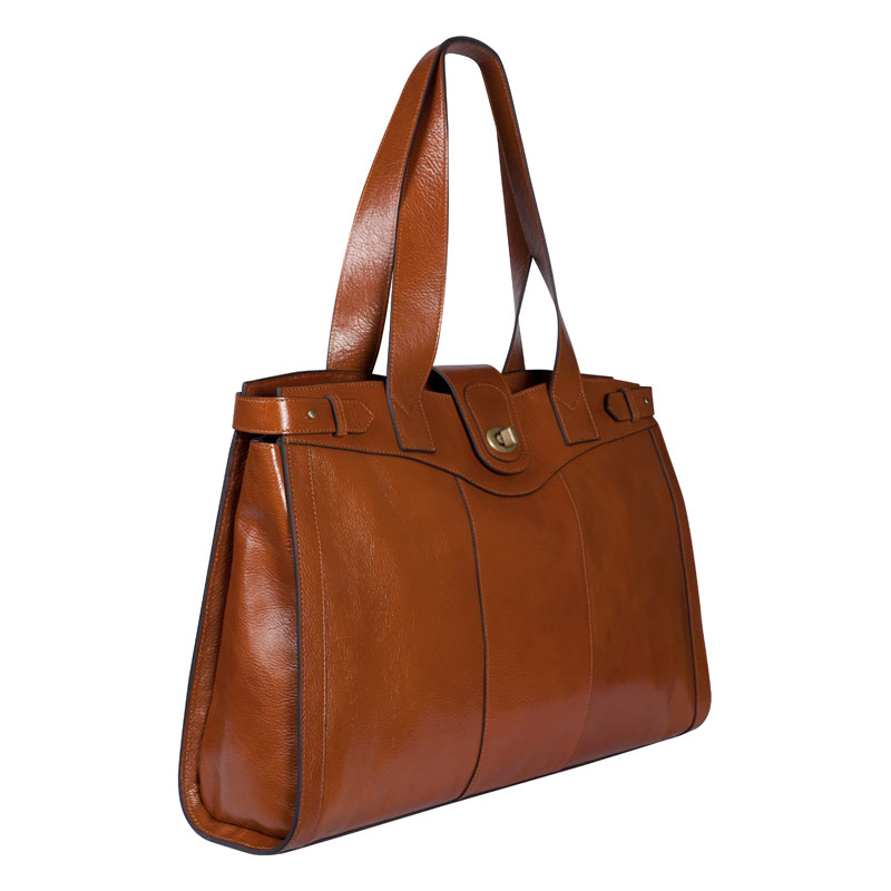 Vintage Leather Laptop Tote - Tan