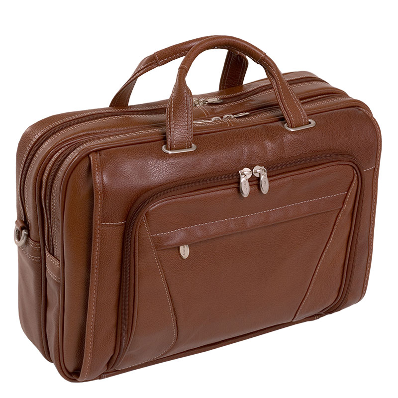 Irving Park Leather Double Compartment Laptop Case - Brown