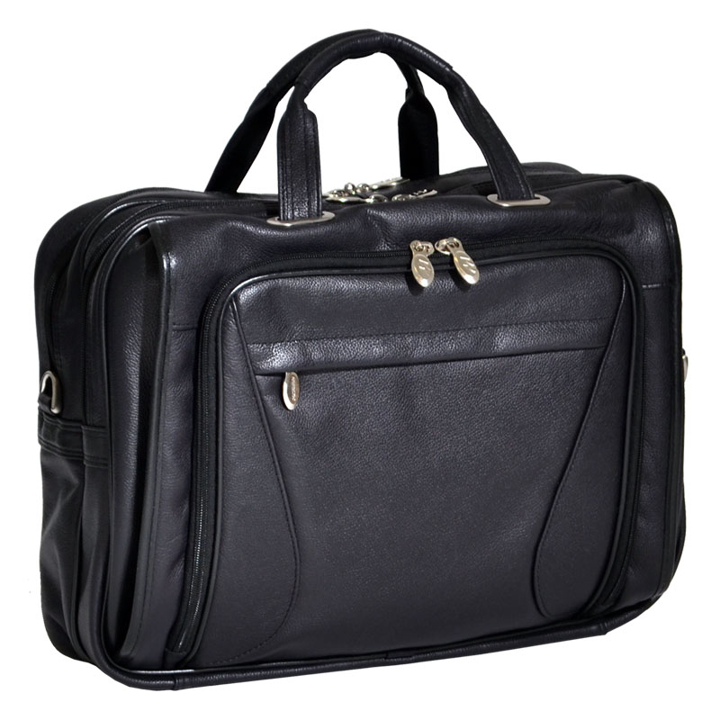 Irving Park Leather Double Compartment Laptop Case - Black