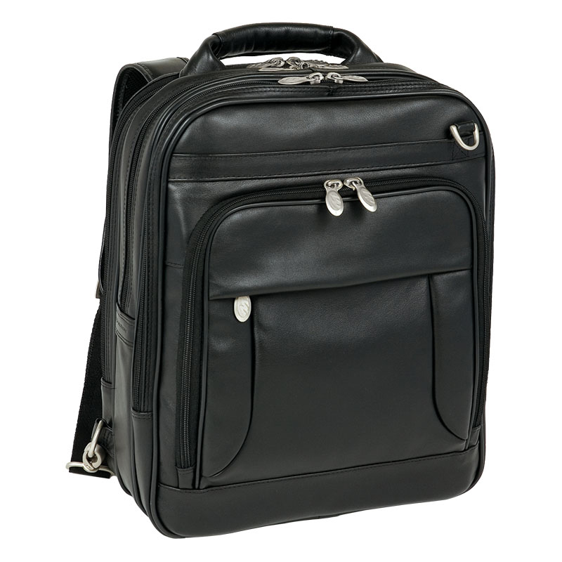 Lincoln Park Leather Three-Way Computer Briefpack - Black