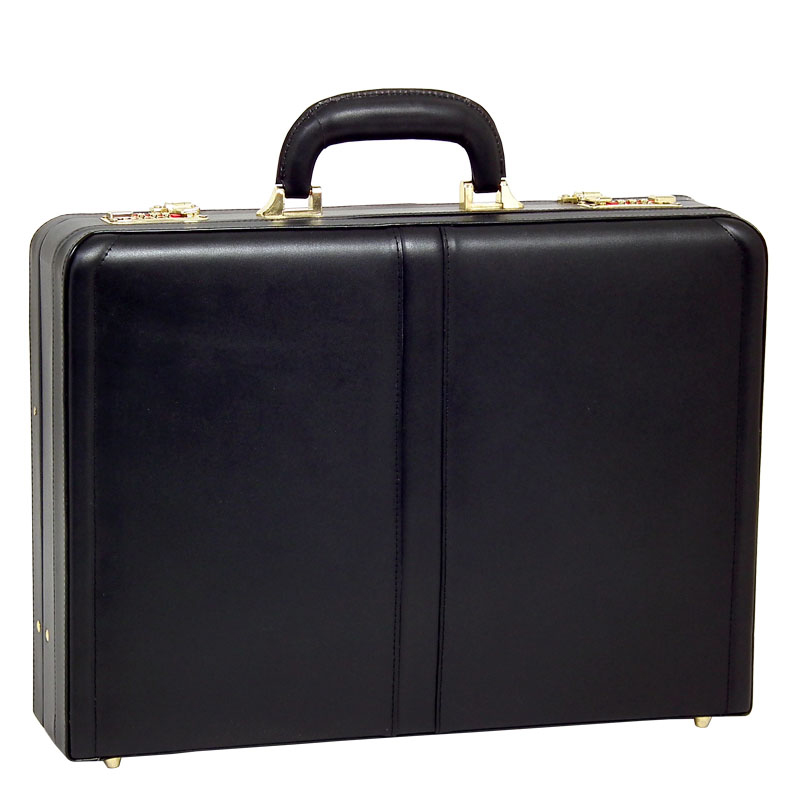 Harper Leather Expandable Attache Case - Black
