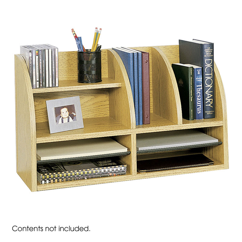 8-Compartment Desk Organizer, Medium Oak