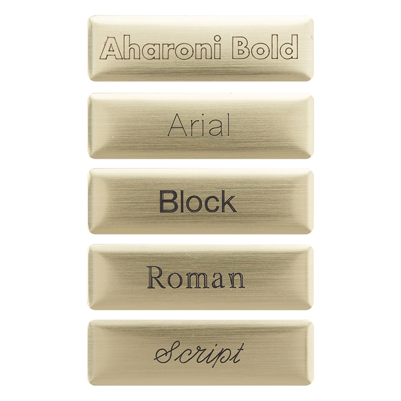 Brushed Brass Nameplate - Block