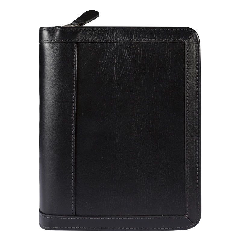 Pocket Vintage Leather Binder - Black
