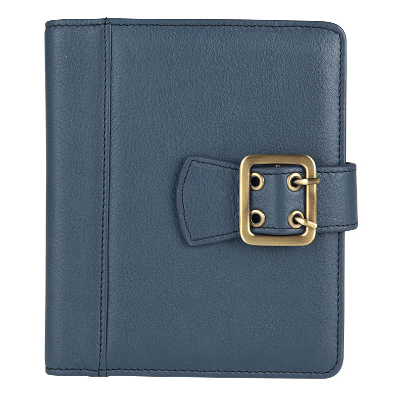 Clutch Boston Leather Snap Wire-bound Cover - Blue