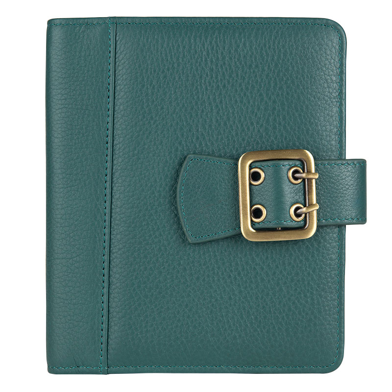 Clutch Boston Leather Snap Wire-bound Cover - Green