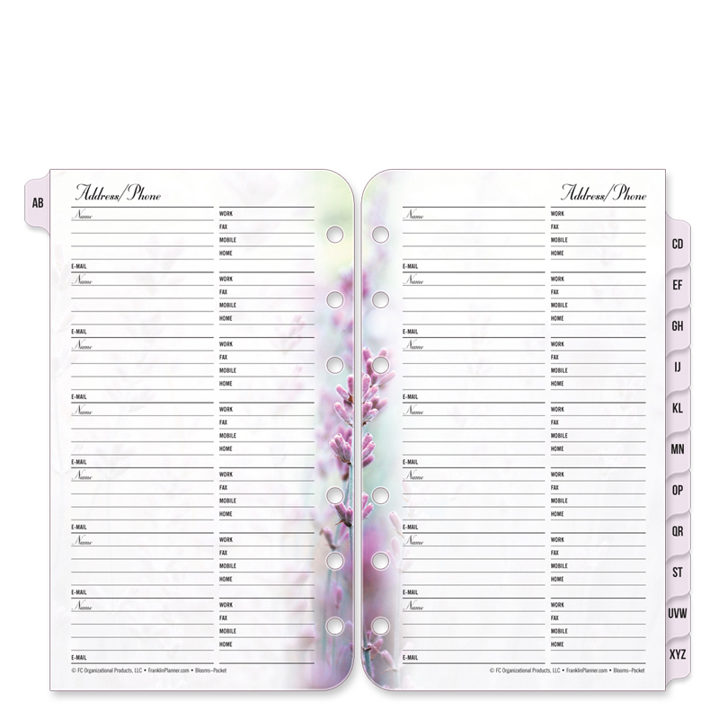 Pocket Floral Blooms Address/Phone Tabs