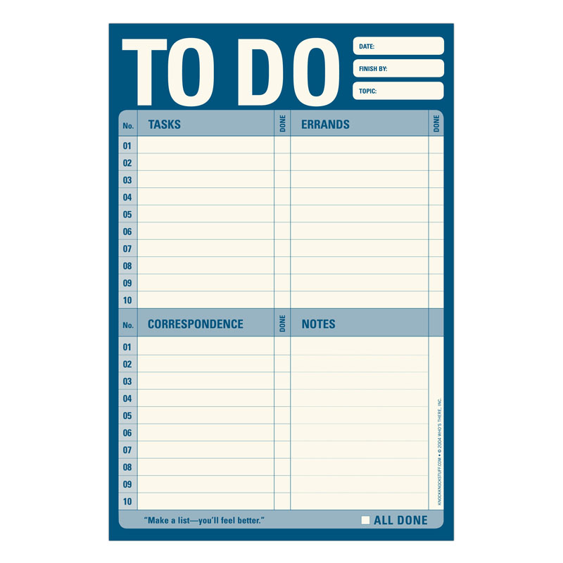 To Do Pad - Blue