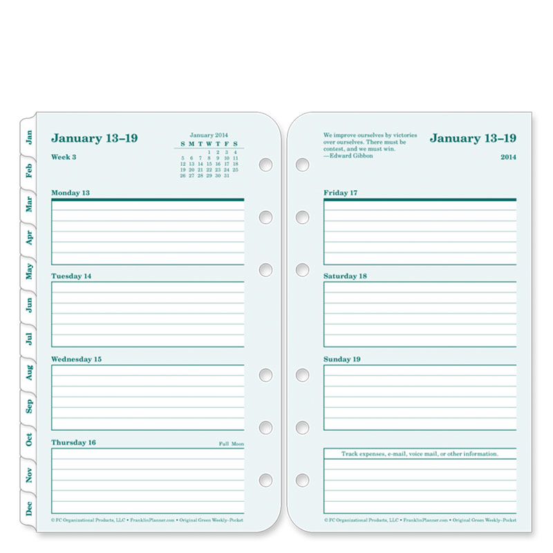 Pocket 100% Recycled Ring-bound Weekly Planner - Jan 2014 - Dec 2014