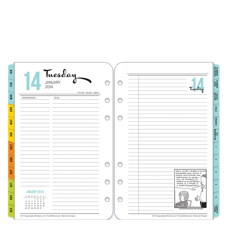 Compact Real Life Adventures Ring-bound Daily Planner - Jan 2014 - Dec 2014