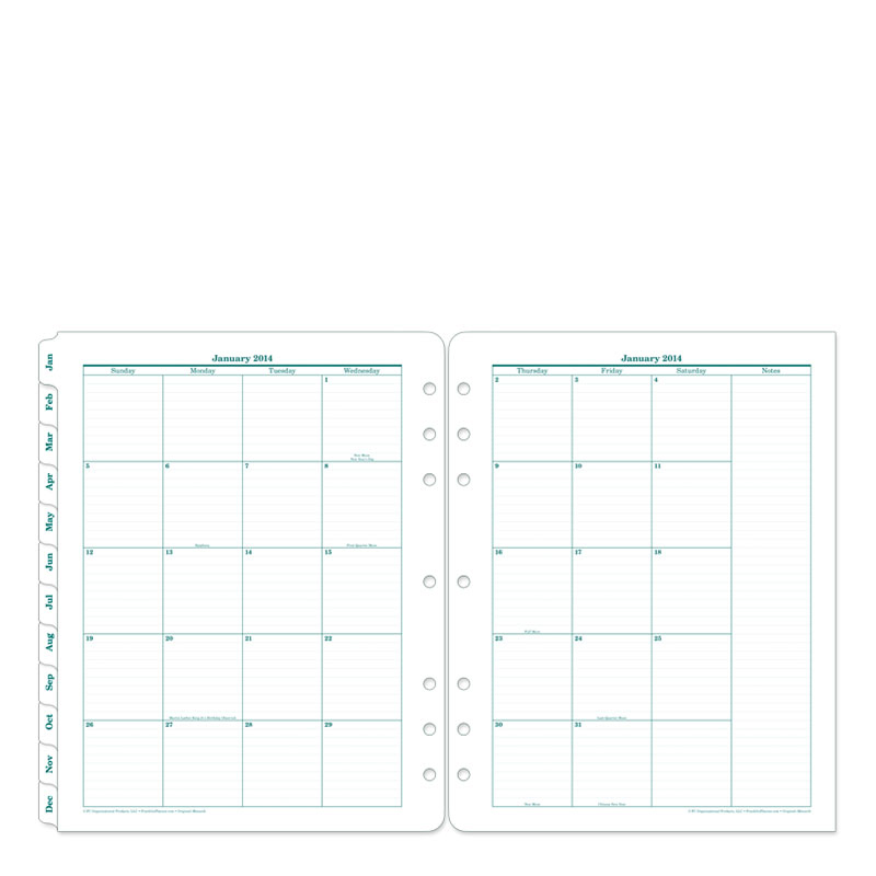 original two page monthly calendar tabs franklincovey