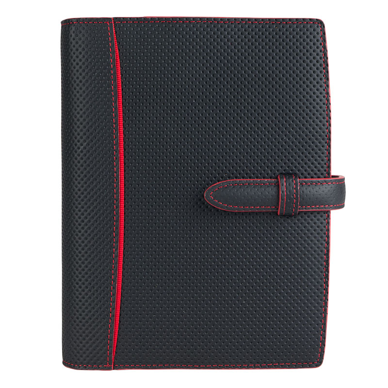 Compact Blacksmith Leather Open Binder - Black/Red