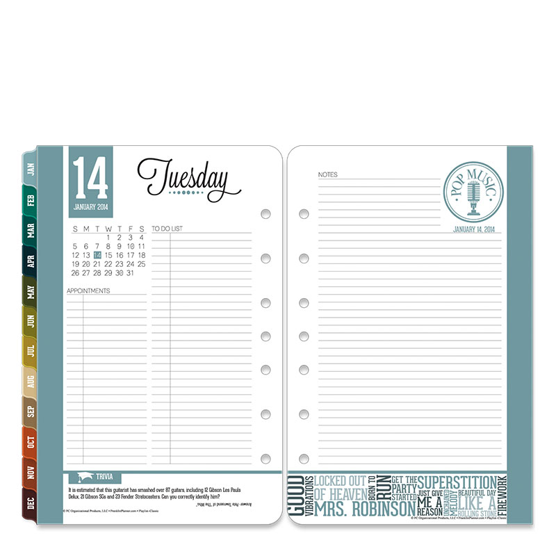 Classic Playlist Ring-bound Daily Planner - Jan 2014 - Dec 2014
