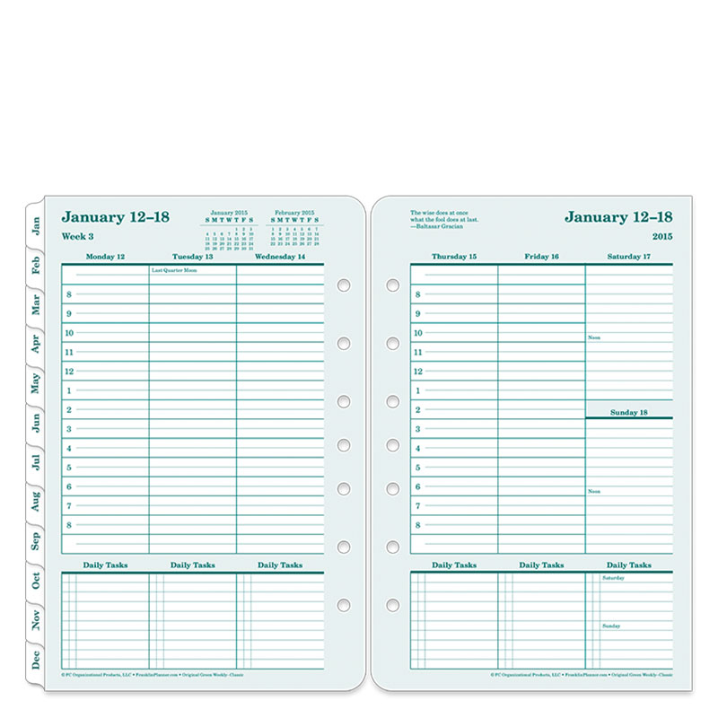 Classic 100% Recycled Ring-bound Weekly Planner - Jan 2015 - Dec 2015
