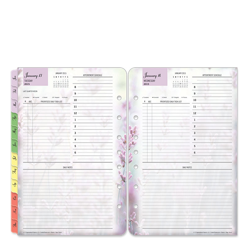 Classic Blooms Ring-bound One-Page-Per-Day Planner - Jan 2015 - Dec 2015