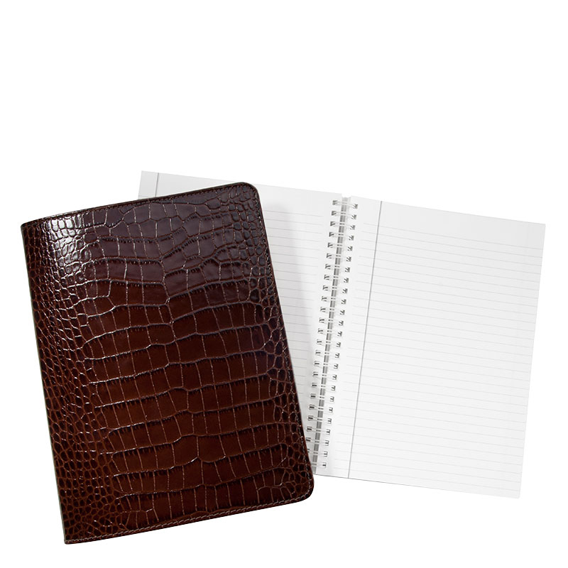 "9"" Wire-O Notebook - Brown Crocodile Embossed Leather"