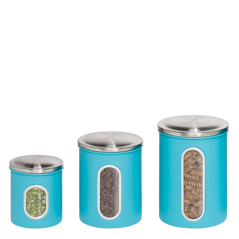3-Pack Metal Storage Canisters - Blue