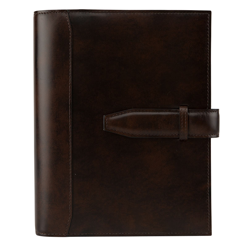 Compact Antique, Glass, Leather Binder - Chocolate