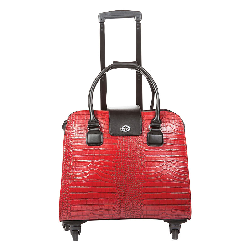 Crocodile Trolley Bag - Red
