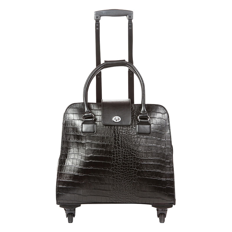 Crocodile Trolley Bag - Black