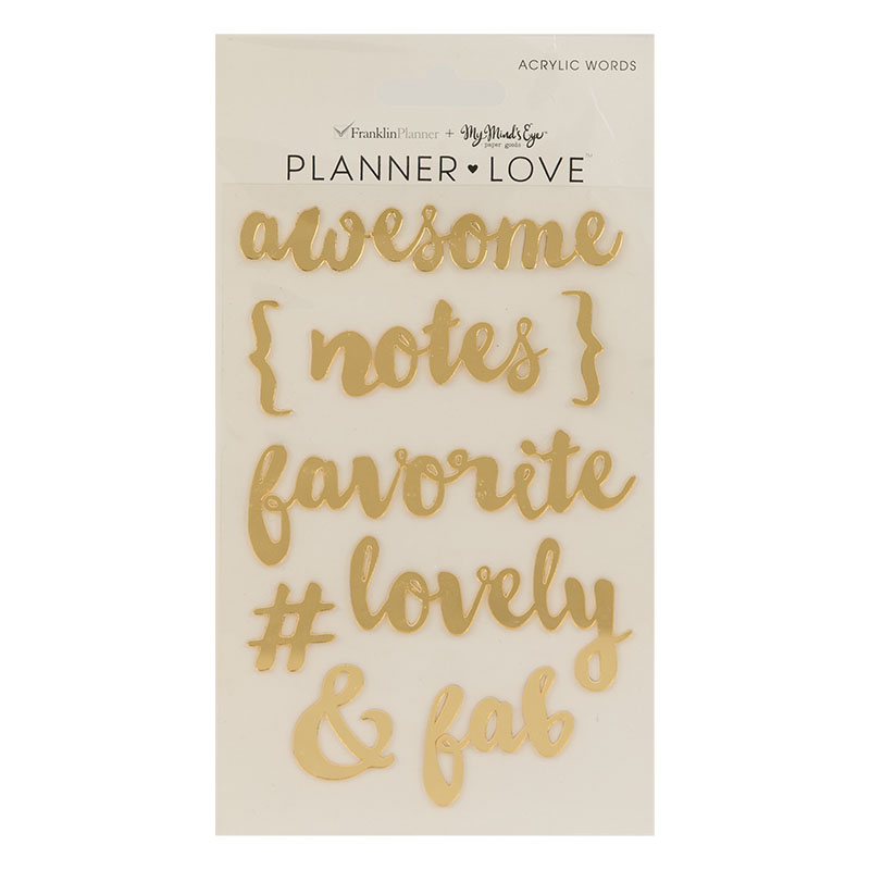 Planner Love Acrylic Words - Gold