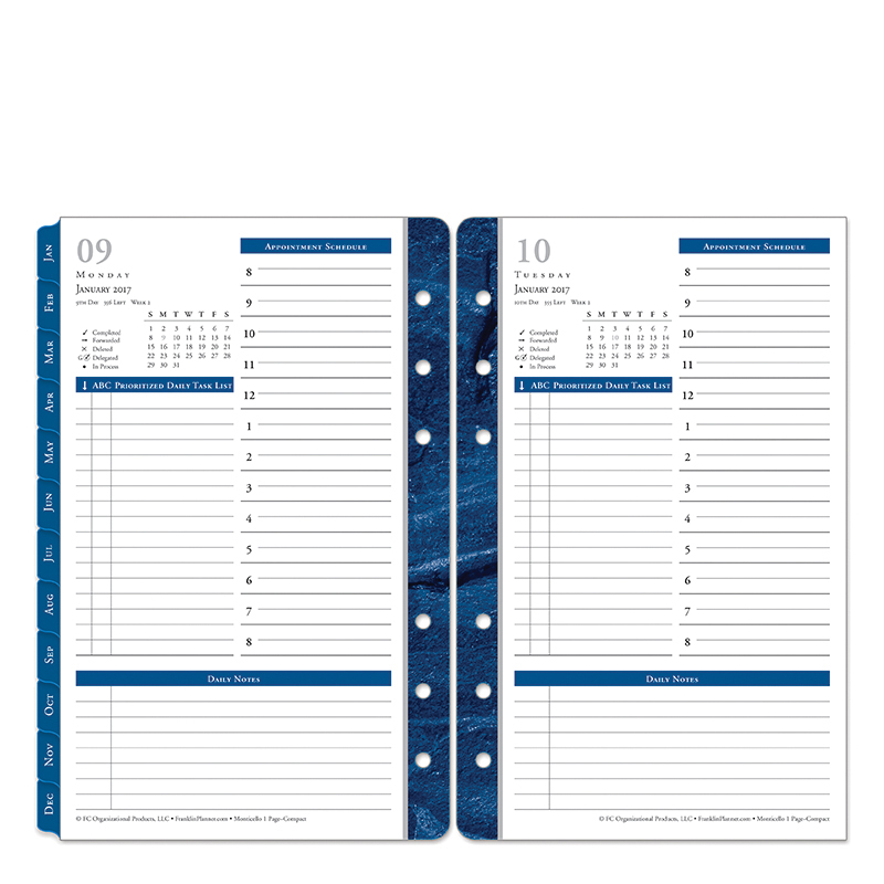 Compact Monticello One-Page-Per-Day Ring-bound Planner - Jan 2017 - Dec 2017