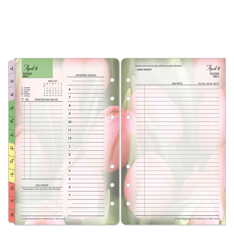 Compact Blooms Daily Ring-bound Planner - Apr 2017 - Mar 2018