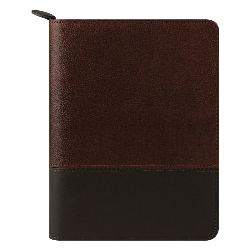 Classic Logan Leather Zipper  Binder - Chocolate/Espresso