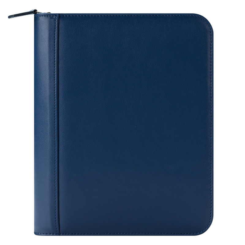 Classic FC Signature Leather Zipper Binder - Blue