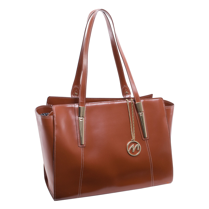 Aldora Leather Shoulder Tote - Brown