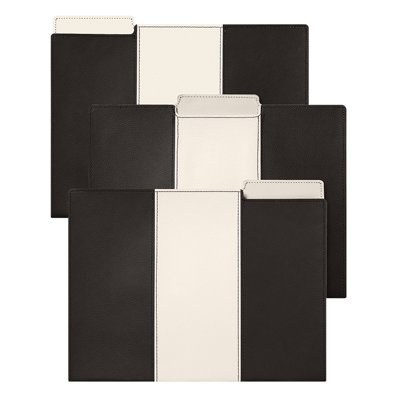 Leatherette File Folder Set - Black and White