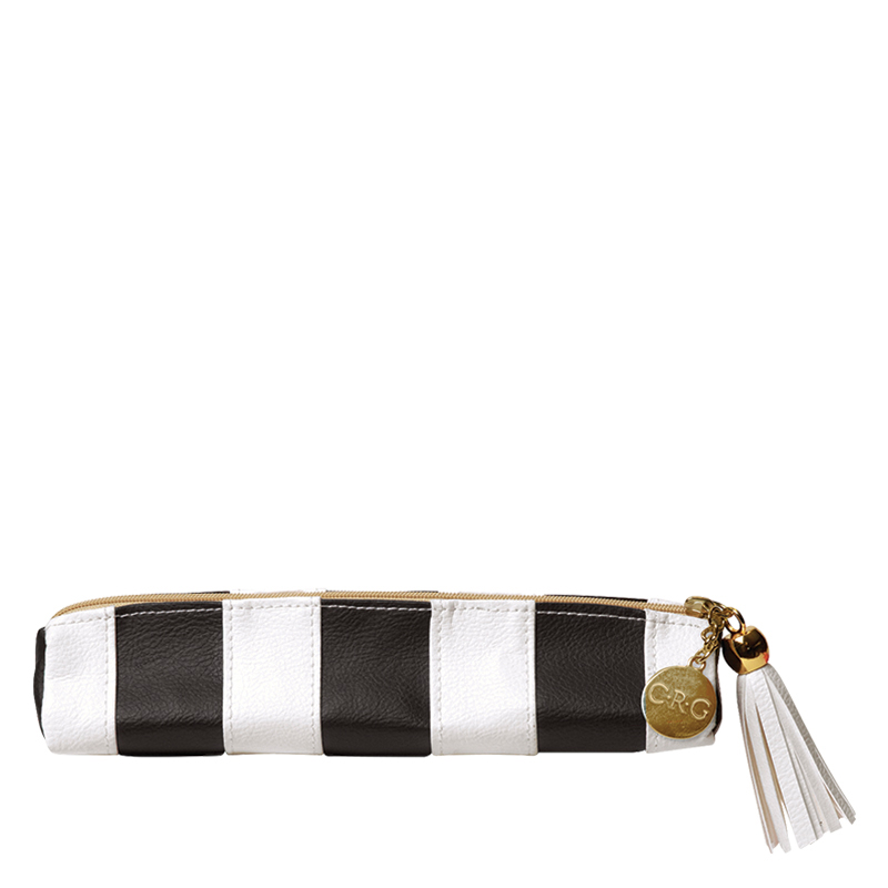Leatherette Pencil Pouch - Black and White