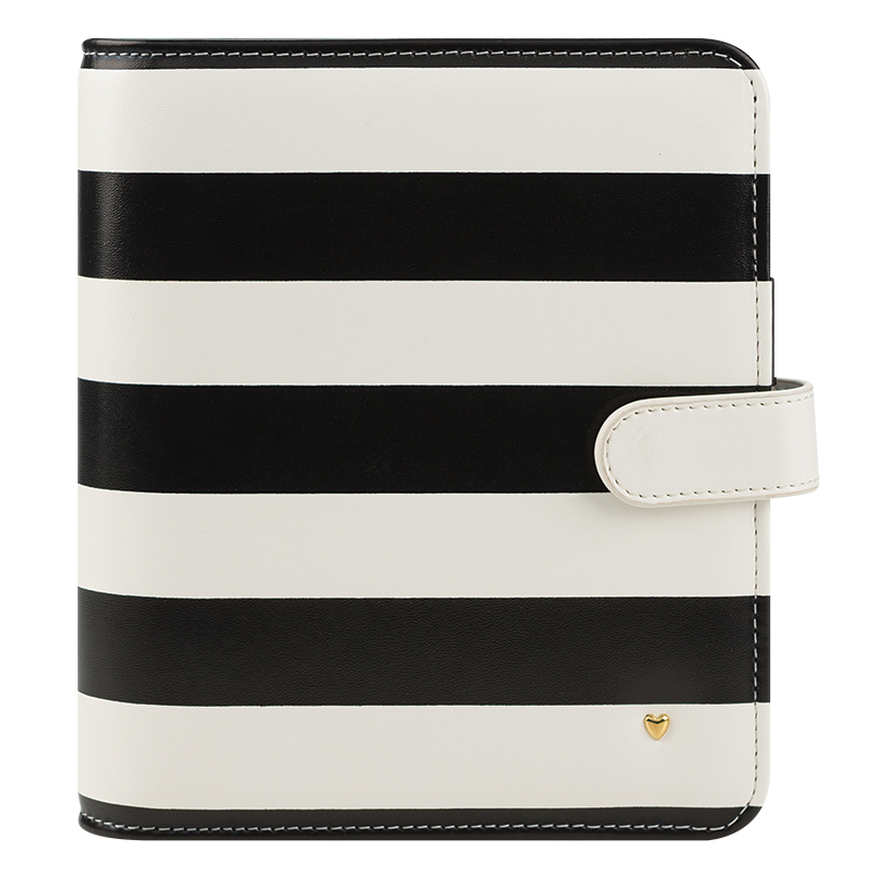 Compact Planner Love Simulated Leather Snap Binder - Striped