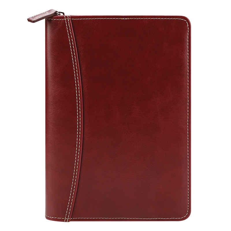 Classic Cameron Simulated Leather Zipper Wire-bound Cover with Undated Compass Weekly Planner - Red