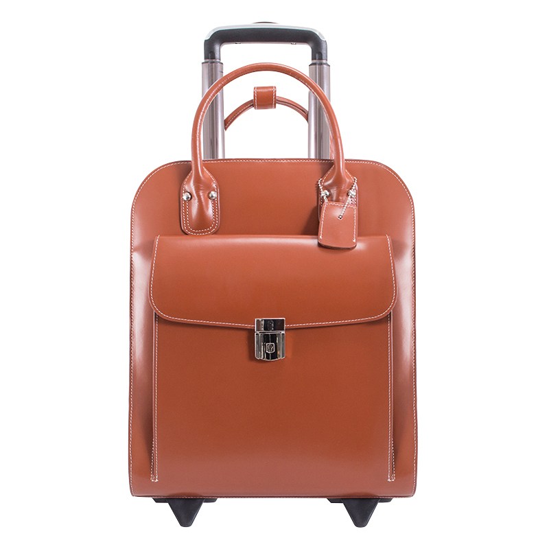 Uptown Vertical Wheeled Ladies' Briefcase - Brown