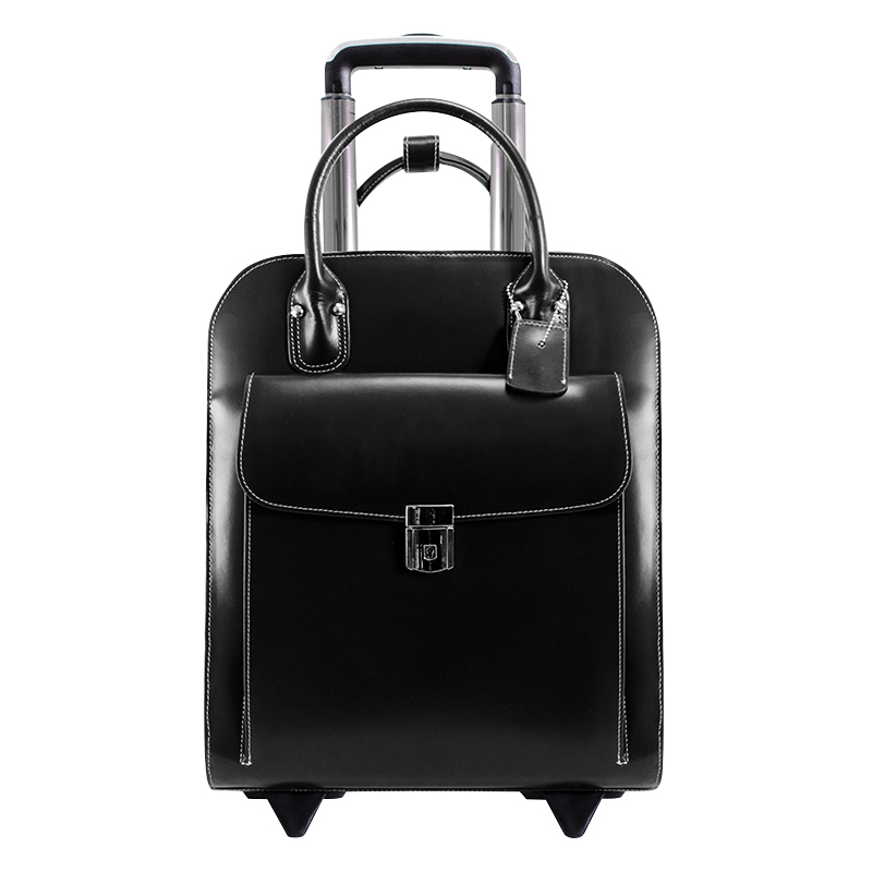 Uptown Vertical Wheeled Ladies' Briefcase - Black