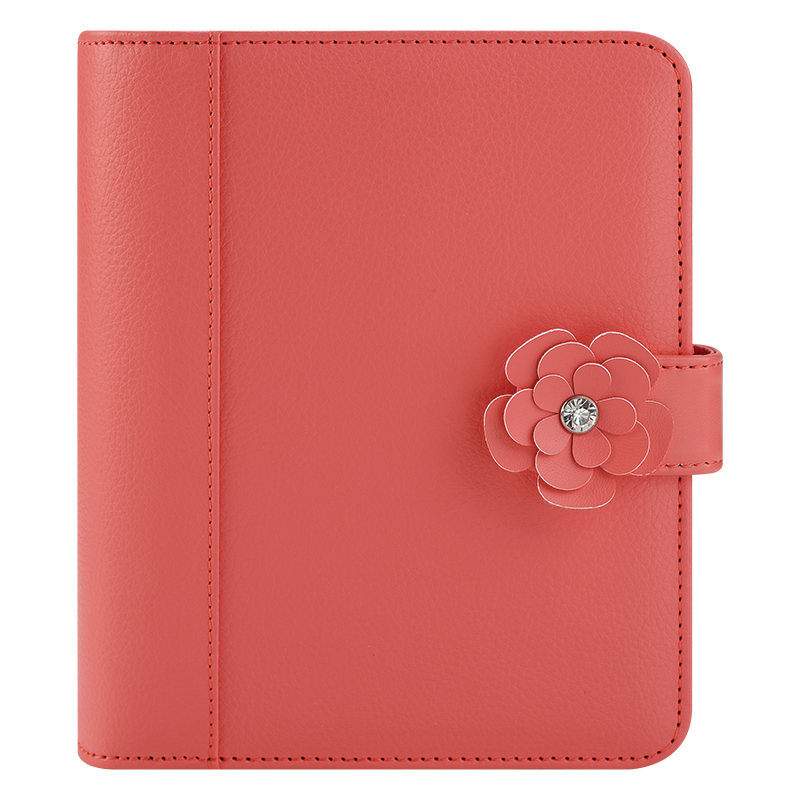 Compact Charlotte Simulated Snap Binder - Coral
