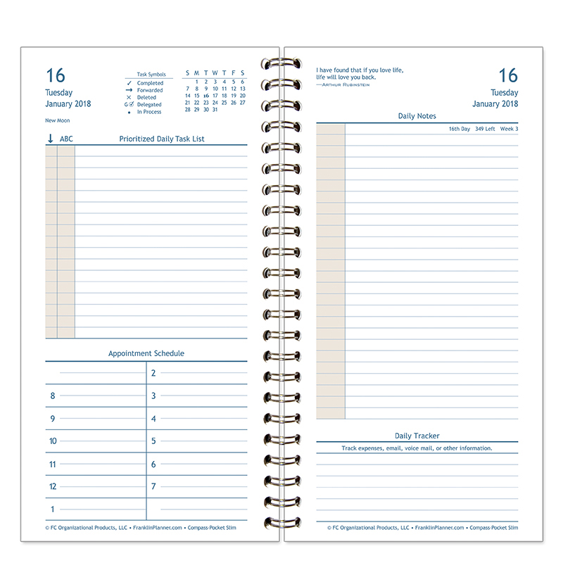 Compass wire bound daily planner franklincovey for Stephen covey calendar template