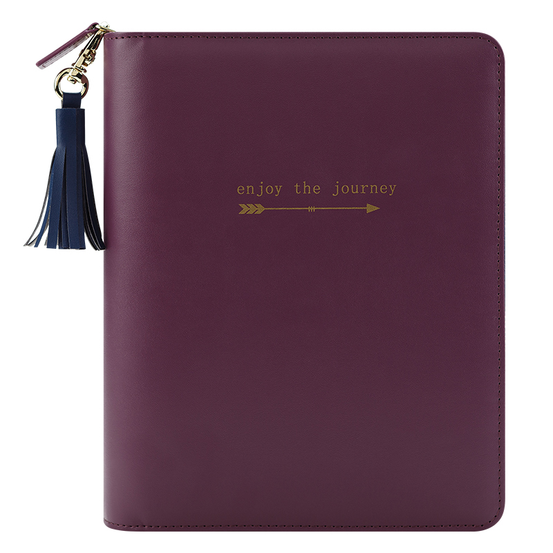 Classic Zoe Simulated Zipper Binder - Violet