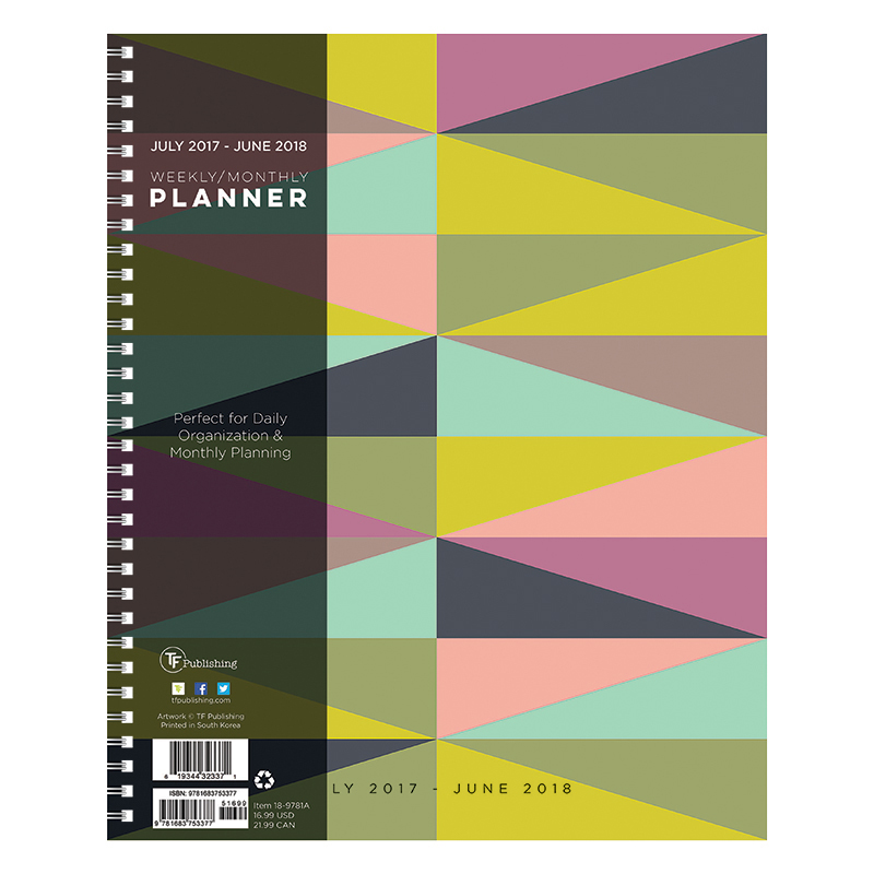 2018 academic year geometric large weekly planner franklincovey