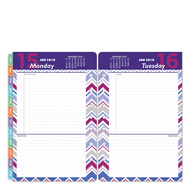 Classic Retropop One-Page-Per-Day Ring-bound Planner - Jan 2018 - Dec 2018