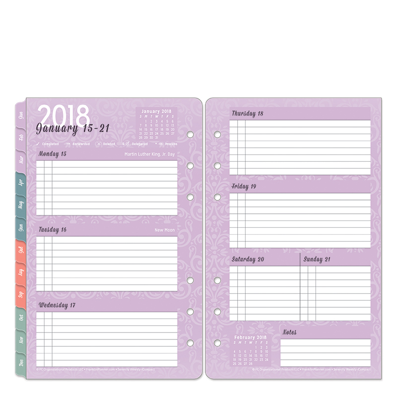 Compact Serenity Weekly Ring-bound Planner - Jan 2018 - Dec 2018