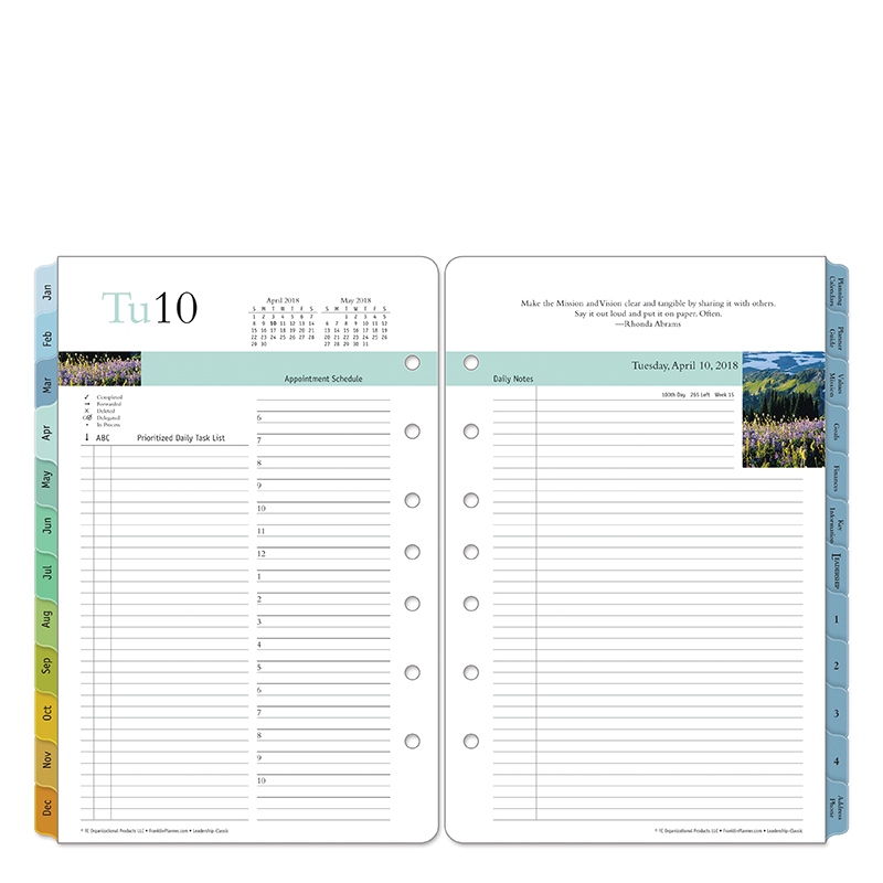 Classic Leadership Daily Ring-bound Planner - Apr 2018 - Mar 2019