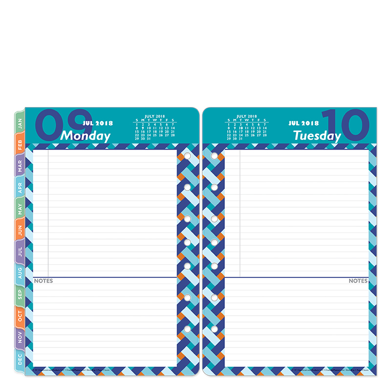 Classic Retropop One-Page-Per-Day Ring-bound Planner - Jul 2018 - Jun 2019