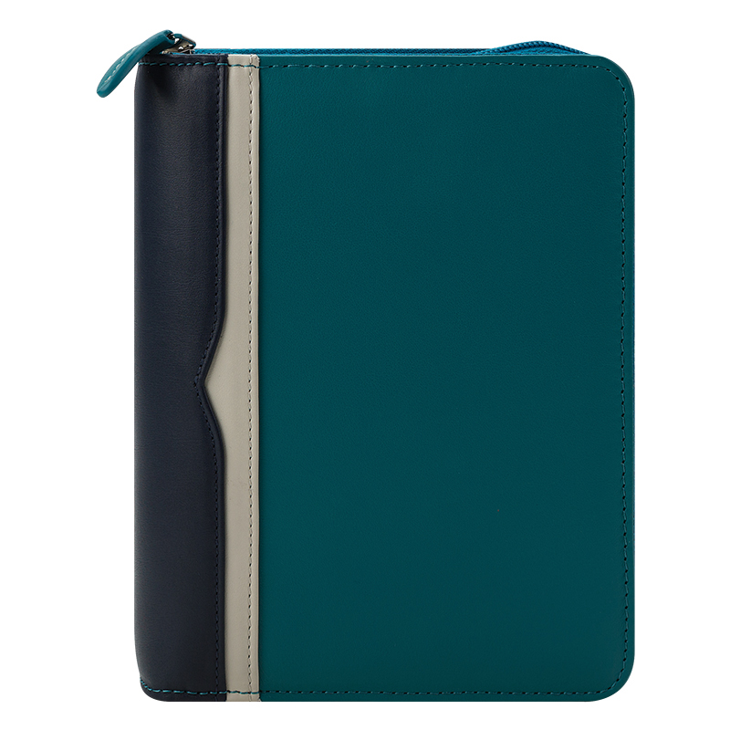 Compact Bailey Leather Zipper Binder - Marine Blue