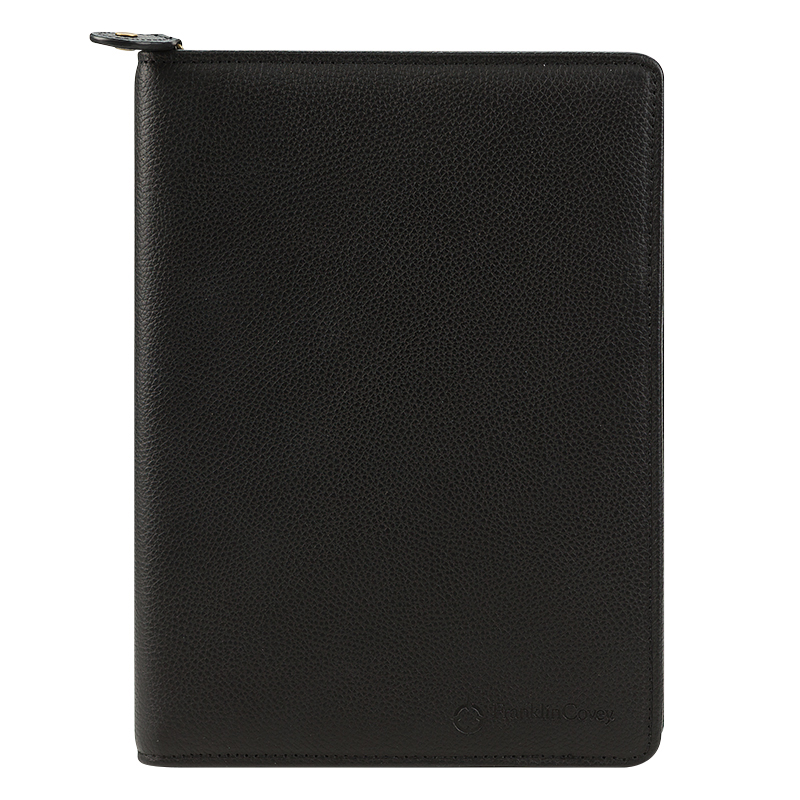 Classic Tyler Leather Zipper Wire-bound Cover - Black