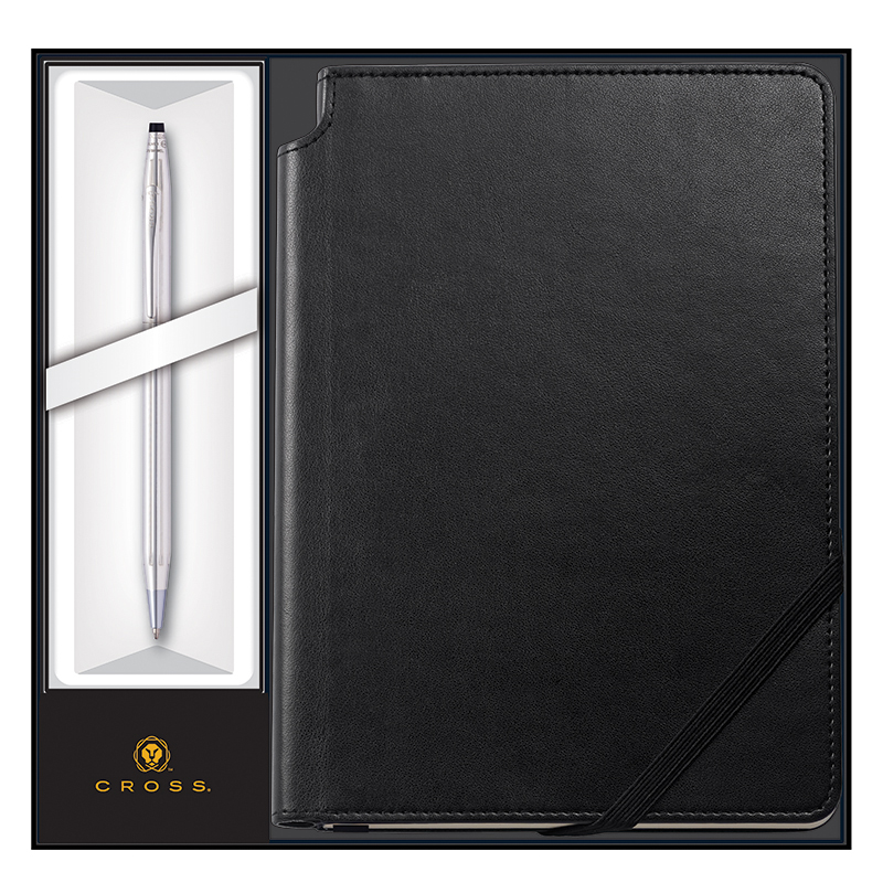 Classic Century Pen Ballpoint Chrome with Medium Journal - Black