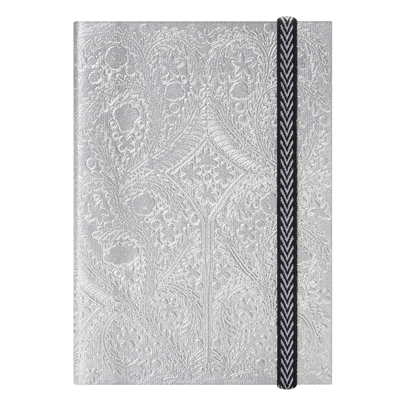 Embossed Paseo A6 Notebook - Silver