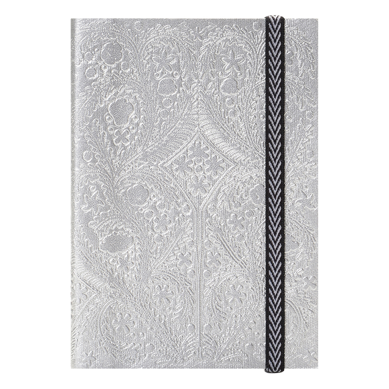 Embossed Paseo A5 Notebook - Silver