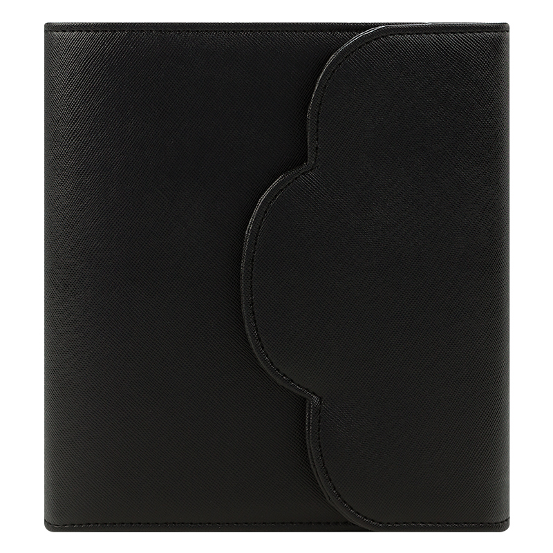 Compact Grace Simulated Leather Snap Binder -Black